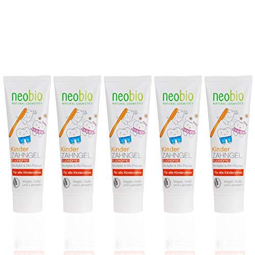 NEOBIO Kinder Zahngel (5x50ml), Fluoridfrei, mit Bio-Apfel und Bio-Papaya, Bio Zahnpasta, Vegan, Naturkosmetik