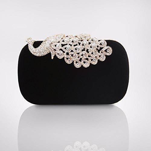 Bunter Pfausamt mit Diamanten, schwarzen und weißen Diamanten,Damen Abendtasche Clutch Tasche Elegant Handtasche Abendtasche Damen für Party Hochzeit