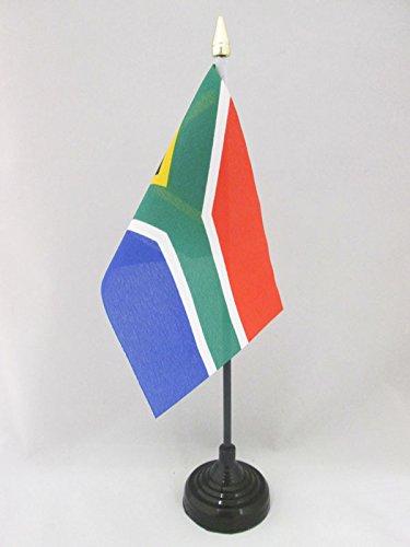 AZ FLAG TISCHFLAGGE SÜDAFRIKA 15x10cm goldene splitze - Republik SÜDAFRIKA TISCHFAHNE 10 x 15 cm - flaggen