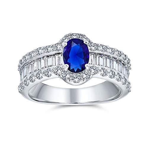 Bling Jewelry Estilo Art Decó Oval Solitario Halo Azul Zafiro Simulado Anillo De Compromiso para Mujer 925 Plata De Ley 925