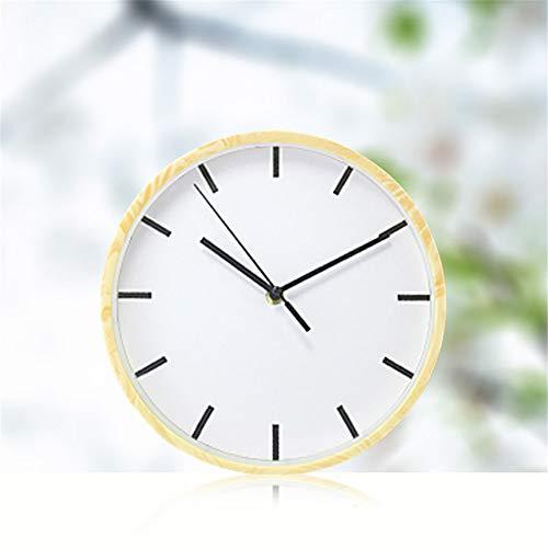 GYHJG 10 Zoll Große Nachahmung Holzmaserung Wanduhr Mode Einfachen Wecker Wanduhr Weiß