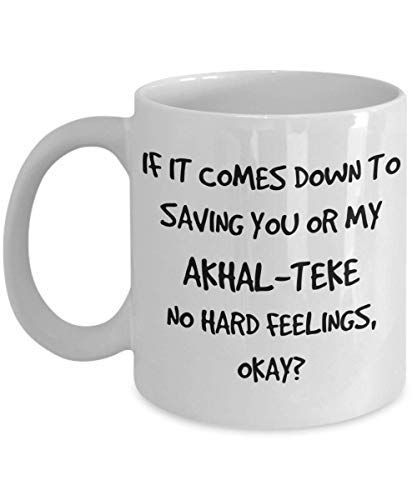 Tasse à café amusante Akhal-Teke en céramique blanche – 325 ml