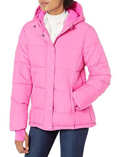 Amazon Essentials Chamarra con Capucha de Peso Pesado. down-outerwear-coats, Rosado Neón, L