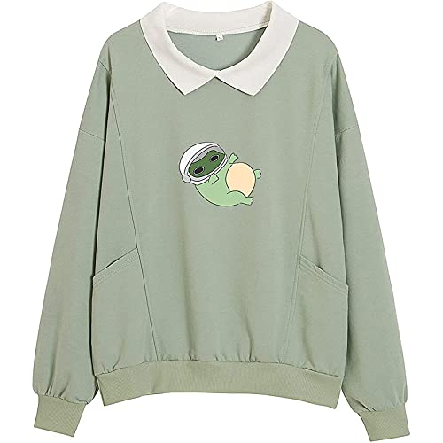 New Teen Girls Cute Lapel Tops Fresh Shirts Long Sleeves Blouse Frog Pattern Sweatshirt Women Pullover Green