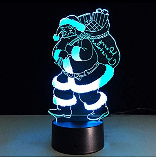 Veilleuse Père Noël Santa Claus 3D Baby Light RGB Décorations de Noël colorées pour lampe à la maison
