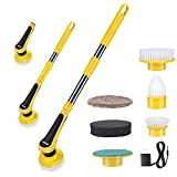 Electric Spin Scrubber, iMartine Cordless Shower Scrubber Super Powered with 6 Replaceable Cleaning Bathroom Scrubber Brush Heads, 1 Adapter and Extension Arm for Floor Kitchen Tub Tile Sink Wall