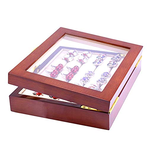ZDNB Caja expositora de Madera para joyería con Forro de Franela, Vitrina de Madera Cuadrada Grande Vintage para Pendientes, Anillos, Gemelos, Estilo Dos, 18,5 cm × 15 cm × 4,6 cm