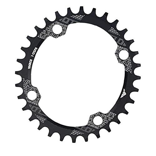 Tuimiyisou Anillo de la Cadena de la Bici Estrecho Ancho de la Cadena Anillo Oval Forma 32T 104mm BCD for Single Speed ??Bike Negro