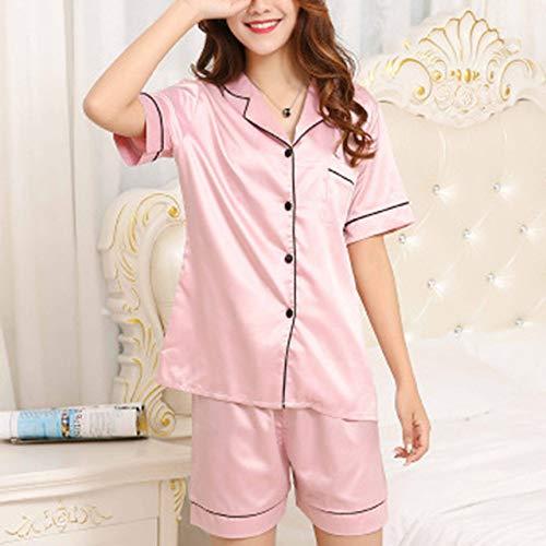 JFCDB Zomer pyjama,Dames Satijnen PyjamaKraag Pyjama Korte mouw Set Nachtkleding Dames Zomer Pyjama 2-delig Set loungewear-pak, A1, XL
