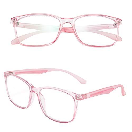 老眼鏡 ブルーライトカット 軽い おしゃれ メンズ レディース ケース付き ウェリントン ピンク 度数+3.00 TR2303