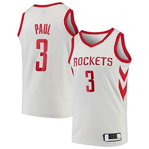 GSDAA Camiseta de baloncesto Chris Paul Sports Houston Traning Jersey de manga corta #3 Swingman Jersey Blanco - Edición Asociación-L