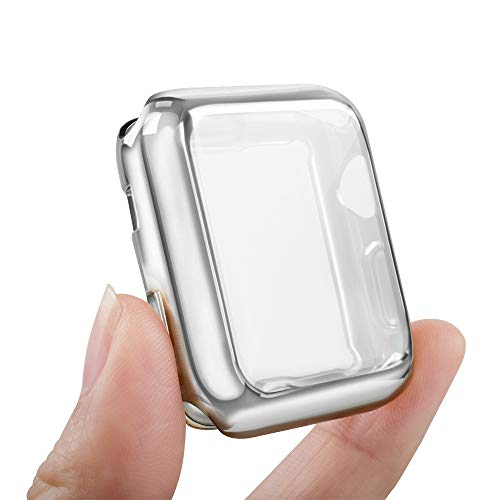 top4cus Environmental Anti-Resistant Soft TPU Lightweight 42mm Iwatch Case All-Around Protective Screen Protector Compatible Apple Watch Series 5 Series 4 Series 3 Series 2 - Silver