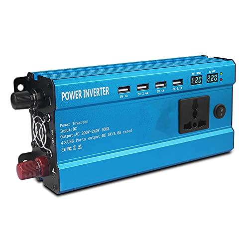 LANGTAOSHA Inversor De Energía De Onda Sinusoidal Pura De 800W / 2000W / 3000W / 4000W DC 12V / 24V / 48V / 60V A 220V AC con Pantalla LCD, Control Remoto Y 4 Puertos USB,4000W12V