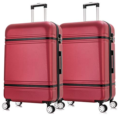 Starlite Luggage 2 x 28' Large ABS147 Hard Shell Suitcase 4 Wheel Spinner (Wine, Large)
