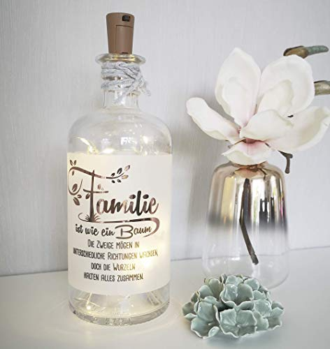 AScreativ Leuchtflasche mit Spruch | FAMILIE ist wie ein Baum | LED Flaschenlicht Dekolampe | Geschenk | Weihnachten