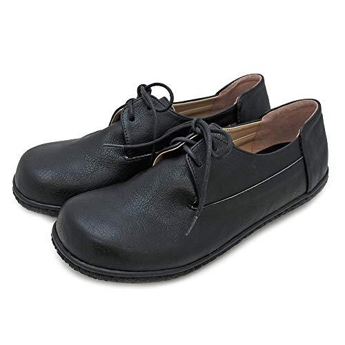 [ジョイウォーカープラス] レースアップ レディース シューズ 紐靴 ひも靴 カジュアルシューズ ぺたんこ靴 フラット 歩きやすい コンフォート CA152 23.5 Black