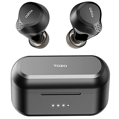 TOZO NC7 Auricolari wireless ibridi con cancellazione attiva del rumore, ANC, Cuffie con rilevamento in-ear IPX6 Auricolari stereo Bluetooth 5.0 impermeabili, Cuffie nere con bassi profondi