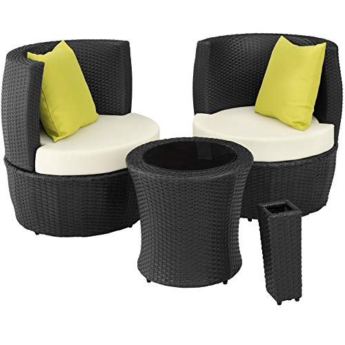 TecTake 800690 Aluminium Poly Rattan Sitzgruppe für 2 Personen, 8-teilig, Aufbewahrung in Ei-Form, wetterfest, inkl. Sitz- und Rückenkissen & Vase – Diverse Farben (Schwarz | Nr. 403139)