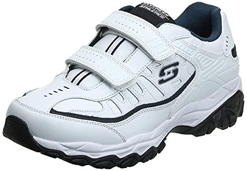 Skechers Sport Men's Afterburn Strike Memory Foam Sneaker, White/Navy, 10.5 4E US