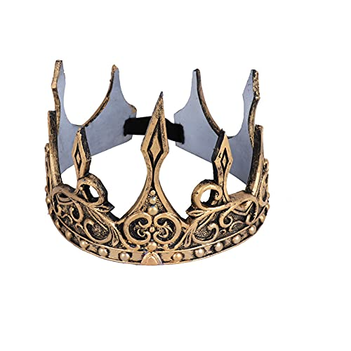 Proumhang Antique Roi Couronne Vintage Royal Hommes Costume Couronne Tiara PU Mousse Party Favors pour Hommes Adultes pour les fournitures de fête d'Halloween Taille Unique Or