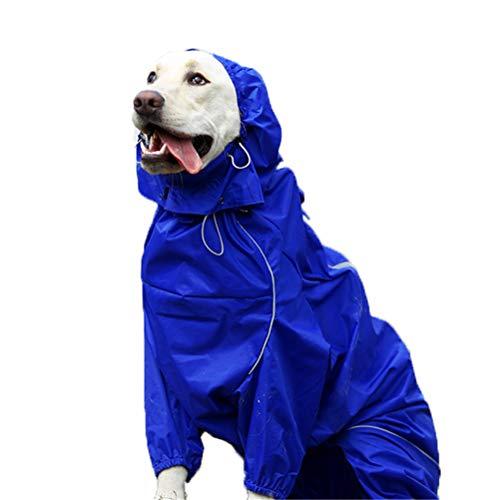 TTBD Hund Regenmäntel Mit Einem Abnehmbaren Hut, Reflektierende Regenmantel Für Haustiere Wasserdicht Overall Zipper Kleidung Mit Reserved Urin-Loch-Design,Blau,12