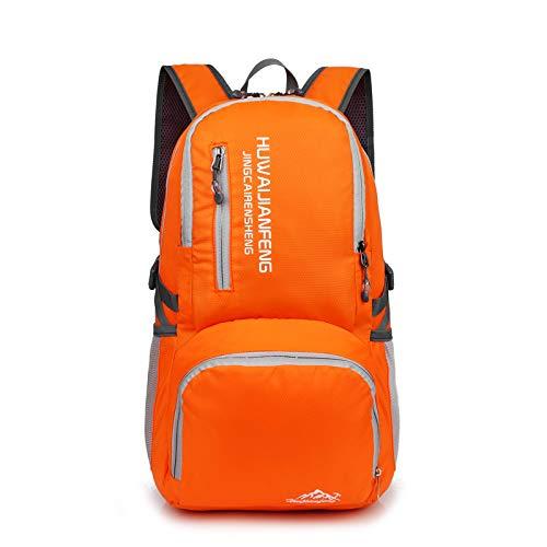 QXbecky Sports de plein air modèles hommes et femmes modèles ultra léger sac de voyage sac pliant sac à dos étanche portable orange 29x16x47cm