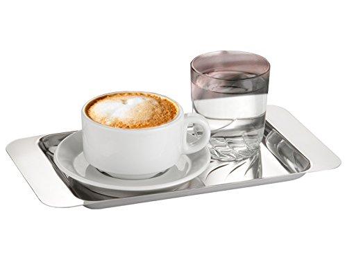 Motta Cappuccino Kaffee Serviertablett rechteckig 28 x 15 cm Edelstahl