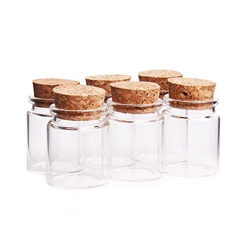 Danmu Art 6 tarros de cristal de 50 ml, 47 mm x 50 mm, con tapones de corcho, mini botellas de vidrio para almacenamiento de vidrio