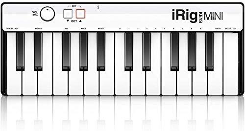 IK Multimedia iRig Keys - Mini-Digitalpiano mit 25 Tasten für Android-, iOS-, PC- und MAC-Systeme - Schwarz/Weiß