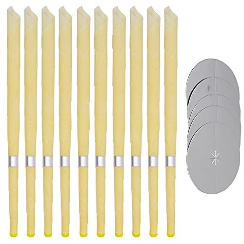 Natürliche Ohrkerzen, 10 Stück, hohle Kegelkerzen mit 5 Schutzscheiben (10 Stück)