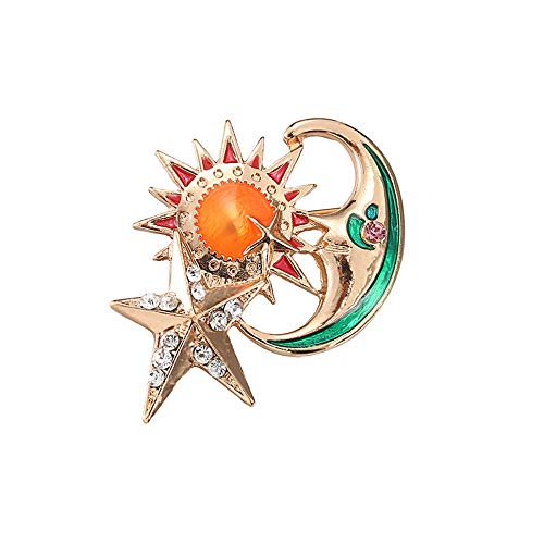 Ningz0l Broche Europa en Amerika legering diamant zon ster maan broche gebreide jas trui mantel mannen en vrouwen accessoires 4,5 cm * 3,5 cm