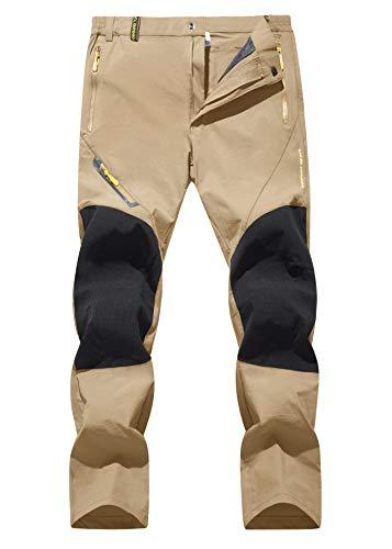 TACVASEN Men's Quick Dry Sweatpant Athletic Hiking Mountain Summer Water-Resistant Work Pants Khaki, 32