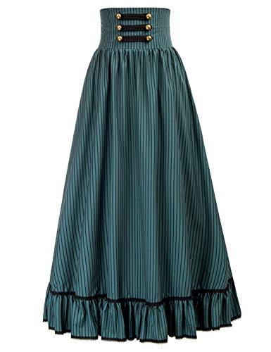 SCARLET DARKNESS Mujer Falda Victoriana con Botones Adornado Frontal 2XL Verde Oscuro