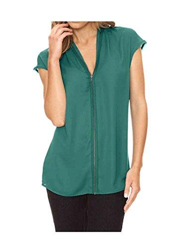Heine Damen-Bluse Georgette-Reißverschluß-Bluse Grün Größe 34