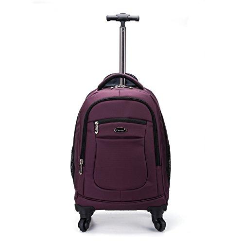 Racini Nylon Waterproof Rolling Backpack, Freewheel Travel...
