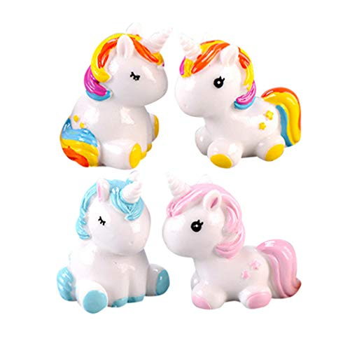 TOYANDONA 4 Piezas Unicornio Figuras Resina Mini Lindo Caballo Estatua Escultura Escritorio Adorno Pastel Topper para Jardín de Hadas Miniaturas Casa de Muñecas (Color Surtido)