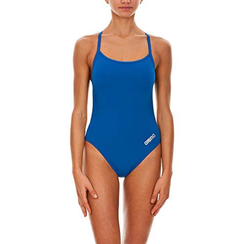 ARENA Women's Mast MaxLife Thin Strap Open Racer Back One Piece Swimsuit, Royal/Metallic Silver, Size 40