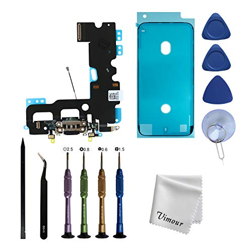 Vimour OEM Original Charging Port USB Dock Connector Flex Cable Assembly Replacement for iPhone 7 4.7 inches with Premium Toolkit and Screen Adhesive Tape (Black)