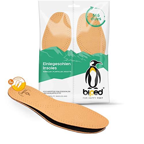 biped 3 paires de semelles intérieures en cuir avec charbon actif, semelles en cuir contre la transpiration des pieds, souple pour chaussures femme et homme z1724(42-43)