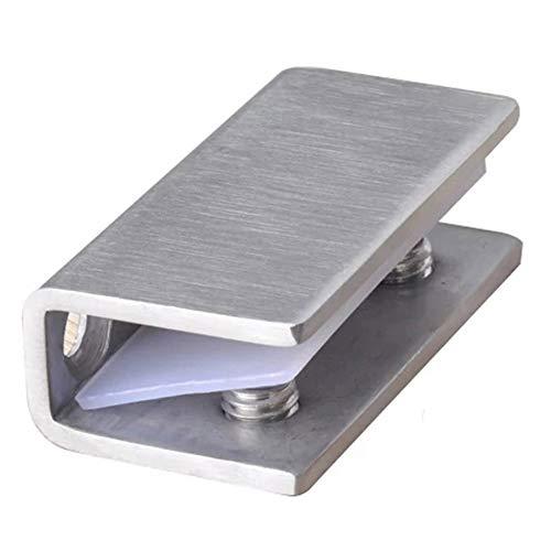 2 abrazaderas de cristal para puerta de ducha, bisagras de cristal, soportes de soporte para puerta de armario fija, de acero inoxidable (8 – 12 mm)