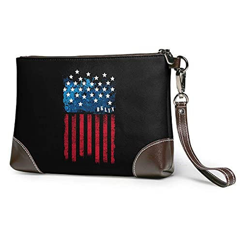 Hdadwy Estados Unidos Nueva York bandera mujeres portátil suave cuero genuino embrague pulsera pequeña bolsa clásica cartera grande