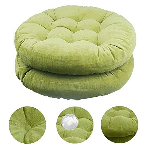 XNDCYX Floor Pillow, Round Meditation Pillow for Seating on Floor Solid Thick Tufted Seat Cushion Meditation Cushion for Yoga Living Room Sofa Balcony Outdoor, 22X22 Inch,green,1 pack