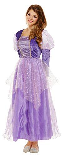 Emmas Kleiderschrank Lila Prinzessin-Kleid-Kostüm - Mit Langen lila Kleid - Frauen Märchen Halloween-Kostüm - Made UK Größen 8-16 (Women: 36, Purple)