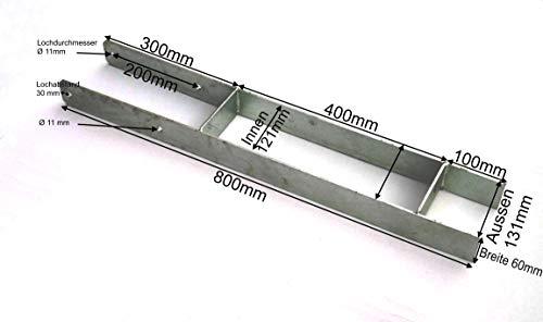 Schwerer H-Anker für 120mm Holzpfosten, 800mm lang als H-Pfostenträger Pfostenhalter Pfostenanker verzinkt für Holzpfosten und Holzbalken (120mm x 800mm)