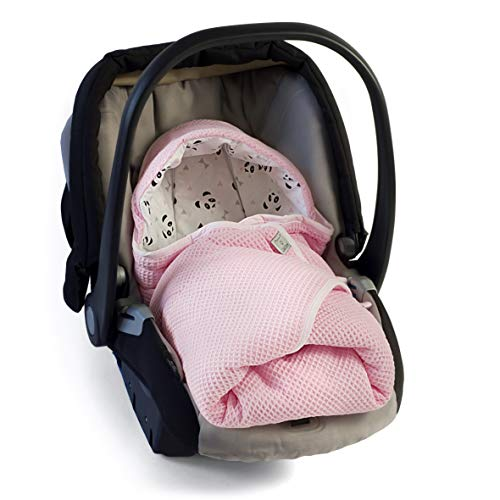 MoMika Swaddling Blanket | I'ts Perfect Road Coat I Bunting Bag I Universal Fit for Car Seat I Cybex, Maxi COSI | Stroller | Buggy or Baby Bed| 100% Cotton European Product (Pink-Panda)