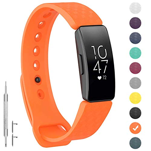 GVFM Compatible with Fitbit Inspire/Inspire HR Bands, Adjustable Soft Silicone Bracelet Accessories Sport Strap for Women Men Wristbands (Small: 5.5-6.7 inch, Orange)