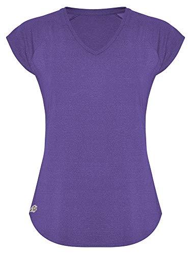 GO HEAVY Damen Fitness Funktions Sport T-Shirt Laufshirt Kurzarm Schnelltrocknend Yoga Sportoberteil | Mauve L