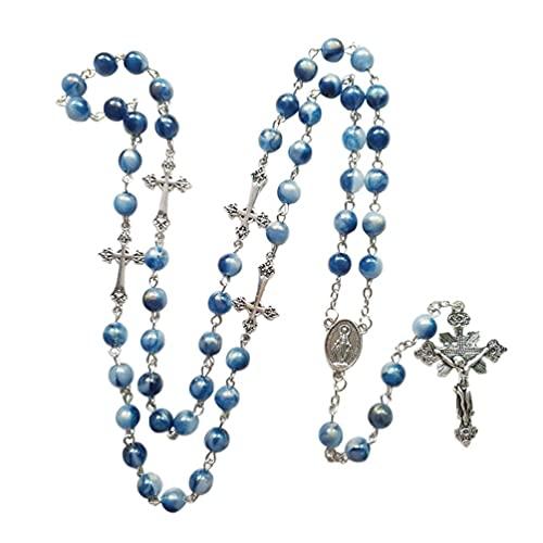 BANAN Collar de rosario de acrílico azul colgante de cruz larga católica cristiana collar religioso joyería religiosa para hombres mujeres collar colgante