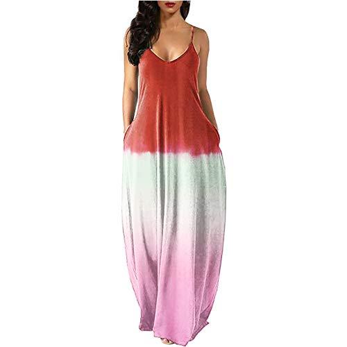 Vestido sin Mangas con Estampado de Honda para Mujer Vestido de Tres Colores con Costuras Vestido Maxi con Espalda Abierta Sexy
