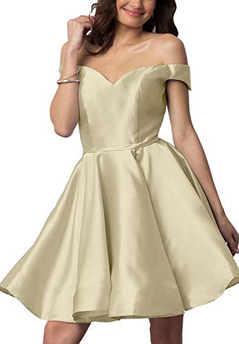 Short Off Shoulder Homecoming Dresses for Junior Cocktail Ball Gown with Pocket (Champagne-18 Plus)